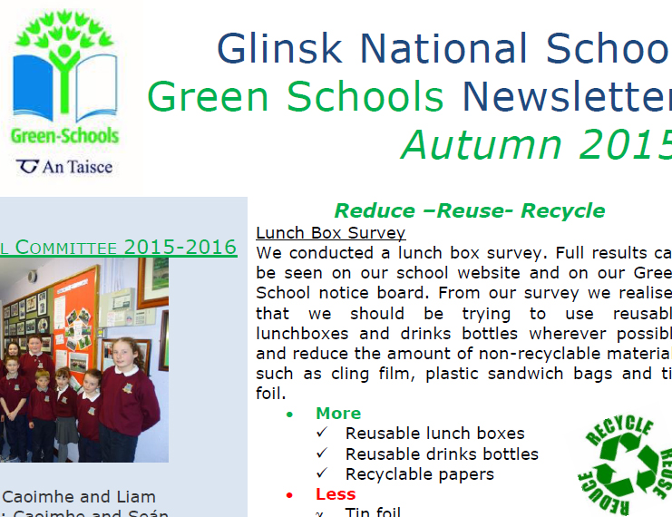 Green School Newsletter  Glinsk National School
